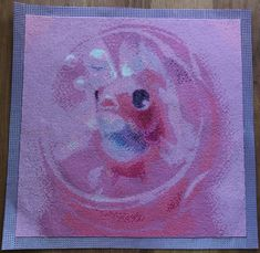 Finished Diamond Painting, Pink Goldfish in Bubble , Full Mosaic, Square Rhinestones on Canvas by TheBlushinRose on Etsy Canvas Board, New Crafts, Goldfish, Rhinestones, Mosaic, Art Pieces, Bubbles, It Is Finished, Pets