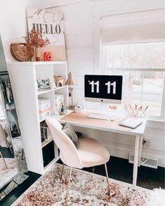 Home Office Space, Home Office Design, Home Office Decor, Home Decor, Cute Desk Decor, Study Room Decor, Bedroom Desk, Aesthetic Room Decor, House Rooms