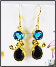 Amethyst Emerald Cz Gemstone 18k Gold Plated Earrings L 1.5in Gpemul-5202 http://www.riyogems.com