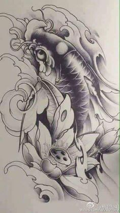 cá chép Koi Dragon Tattoo, Carp Tattoo, Sak Yant Tattoo, Koi Fish Tattoo, Japanese Tattoo Art, Japanese Tattoo Designs, Black Koi Fish, Mangas Tattoo, Koi Tattoo Design