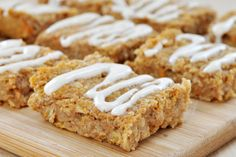 Sweet Potato Snack Bars Cream Cheese Frosting Vegan Gluten-Free- sugar-free, dairy-free, nut-free healthy snack bar. Oats, chickpeas, sweet potato, maple syrup.