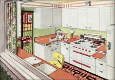 "1945 American Gas Association ad - Picture Window Kitchen - Immediately after the war, the American Gas Association launched its New Freedom Gas Kitchen campaign. This image appeared in Ladies Home Journal as the ""Picture Window Kitchen."" Most kitchens were named to reflect their primary characteristic. This apple green and melon-colored kitchen was bright and cheery."