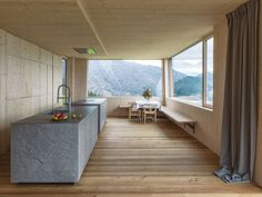 Leierhof is a newly built three-storey house in the Alps. Totalling the house was designed by Maximilian Eisenköck Architecture in Architecture Details, Interior Architecture, Interior Trim, Interior Design, Timber Panelling, Cocinas Kitchen, Huge Windows, Old Farm Houses, House And Home Magazine