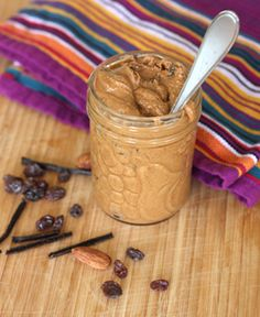 Homemade Cinnamon Raisin Almond Butter  -- This sounds sooo good! And perfect for a bedtime snack: fat and carbs
