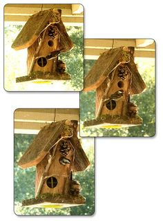 "Old, hollowed log, with opening for the birds and inset ""windows"" give this birdhouse the Hobbit-style appearance. Hanging Bird Cage, Bird Cage Stand, Pet Bird Cage, Large Bird Cages, Bird Houses For Sale, Bird Houses Diy, Fairy Houses, Best Pet Birds, Love Birds Painting"