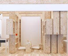Barcode room: plywood movable wall system