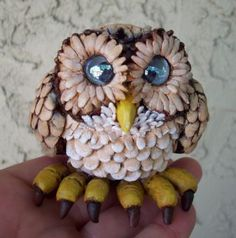 Polymer Clay Baby Owl figurine  detail image View in indirect light