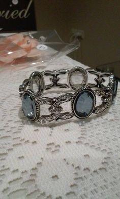 Art deco blue bracelet - silver  Search blue bracelet on www.alongthebridalpath.com.au