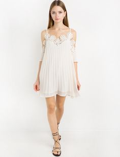 Ivory Chiffon Lace Pleated Off The Shoulder Dress by New Revival #summerdress #pixiemarket