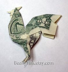 Items similar to Dollar Origami - Rooster on Etsy