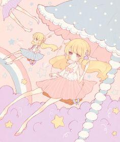 ✮ ANIME ART ✮ pastel. . .carnival. . . clouds. . .stars. . .rainbow. . .swings. . .twin tails. . .bows. . .cute. . .kawaii