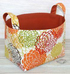 Fabric Basket Organizer Storage Bin - Garden of Mums