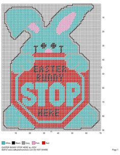 EASTER BUNNY STOP HERE by JODY - WALL HANGING