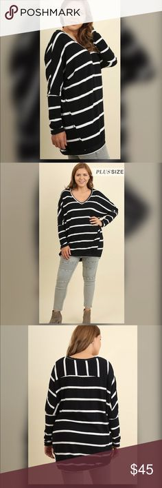 ✅✅PLUS✅✅NEW✅✅Trisha Striped Scoop Neck Top✅✅ Black with white striped long sleeve scoop neck top. Tops