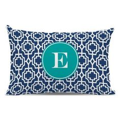 Whitney English Designer Lattice Single Initial Cotton Lumbar Pillow Letter: U