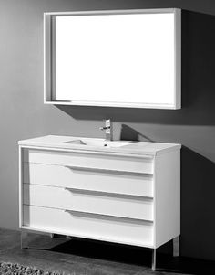 Milano 48 inch Modern White Bathroom Vanities Free standing all wood vanity, available in a smooth walnut veneer and white high gloss enamel finish, recessed 3 drawers finished in light grey interior, Ceramic top with integrated basin, Matching mirror Vanity For Sale, 48 Vanity, Vanity Set With Mirror, Wood Vanity, Discount Bathroom Vanities, Cheap Bathrooms, Modern White Bathroom, White Vanity Bathroom, Mid Century Modern Vanity