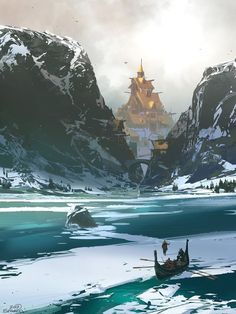 concept art world / Digital Illustration Fantasy City, Fantasy Places, Fantasy World, Fantasy Artwork, Fantasy Concept Art, Skyrim Concept Art, Landscape Concept, Fantasy Landscape, Landscape Art