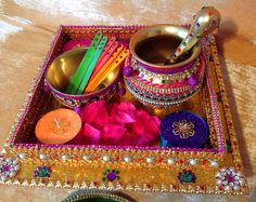 Beautiful oil and mehndi rasam tray Take a look at my Facebook page Www.facebook.com/mehnditraysforfun