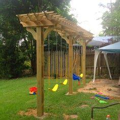 swing set diy - Google Search Backyard Swings, Backyard For Kids, Backyard Projects, Outdoor Projects, Backyard Landscaping, Landscaping Ideas, Backyard Ideas, Diy Projects, Porch Swings