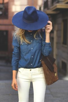 Love the color combo... Wearing this: Srping shopping day... add a long open knit sweater if it's too chilly... chambray top, cream pant, wide brimmed hat