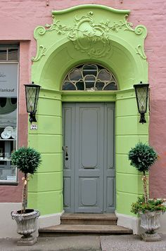 Arched portal, 2 shades of green door, Art Nouveau