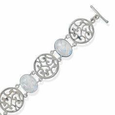 Sterling Silver 6.75 Inch+1.5 Inch Rainbow Moonstone Toggle Bracelet - JewelryWeb JewelryWeb. $172.90