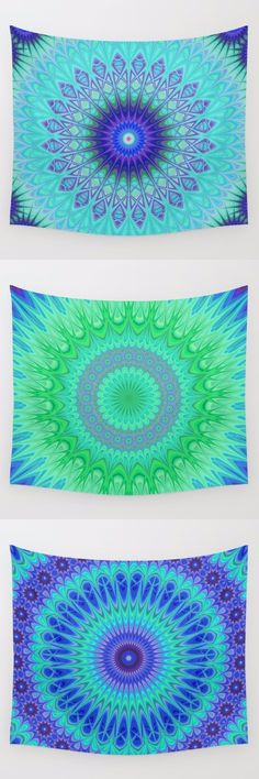 Cold - winter mandala wall tapestry collection. Mandala - bohemian - ethnic - oriental - kaleidoscope tapestries - wall hangings.