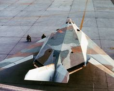 A USAF F-117A Nighthawk wearing an experimental paint scheme during daylight operations trials from Edwards Air Force Base.