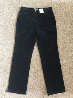 M&S CLASSIC Collection Velvet/Cord Ladies trousers UK14 EU42 Short BNWT  Navy