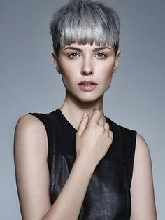 + Ideas for Beautiful Hairstyles for Short Hair short hair cuts, slim woman with short light grey hair, layered cropped bangs, wearing black sleeveless leather top Short Black Hairstyles, Fringe Hairstyles, Pixie Hairstyles, Pixie Haircut, Haircut Short, Gray Hairstyles, Corte Y Color, Bowl Cut, New Haircuts