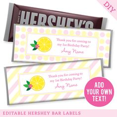 Paper goods and DIY printables for parties and holidays 1st Birthdays, 1st Birthday Parties, It's Your Birthday, Pink Lemonade Party, Hershey Bar, Label Design, Paper Goods, Party Favors, Gift Wrapping