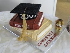 Text Books With Graduation Cap cakepins.com