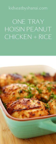 One Tray Hoisin Peanut Chicken and Rice Kids Eat by Shanai Healthy Chicken Recipes, Asian Recipes, Cooking Recipes, Thermomix Recipes Healthy, Healthy Food, Chinese Recipes, Healthy Nutrition, Salmon Recipes, Turkey Recipes