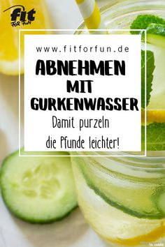 Gurkenwasser: Leckere und gesunde Erfrischung Cucumber slices not only beautify the complexion. Your drinking water gives your body many healthy nutrients and the pounds tumble more easily. Natural Detox Water, Cucumber Water, Healthy Diet Tips, Healthy Nutrition, Healthy Drinks, Healthy Eating, Water Fasting, Le Diner, Detox Your Body