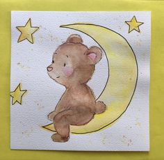 #diy #mond #teddy #teddybear #moon #aquarell #kinderzimmer #bilder #sterne #babyzimmer Baby Zimmer, Teddybear, Journal, Diy, Animals, Watercolor Painting, Watercolor Map, Good Night, Stars