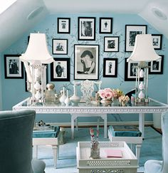 Cute office space or use vanity to add personal touches such as flower bouquet, mirror, or perfume bottles