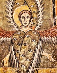 Pinturas de Santa María de Aneu - Serafín, detalle del ábside