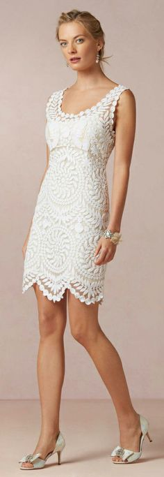 Wow, the detail on this scalloped #LWD is beautiful! { little white dress }