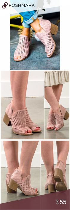 """The Cori Mauve Peep Toe Booties Perfect summer Booties to transition into fall   in! Block 2.5"""" heel/ cut out Faux Brushed leather with back zipper and peep toe! Has all the must have elements. Fits true to size B Chic Boutique Shoes Ankle Boots & Booties"""