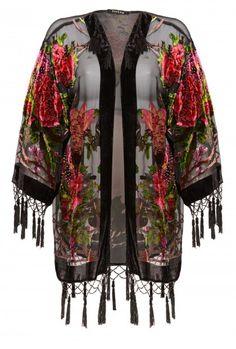 Jayley Black Silk Devore Jacket | Floral Design