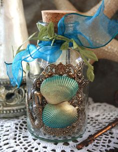 Message in a Bottle Mermaid Altered Art Bottle, Jessica Galbreth