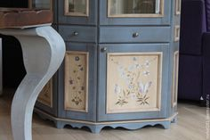 Купить Витрина в стиле прованс - голубой, витрина, мебель прованс, прованс стиль, прованс интерьер