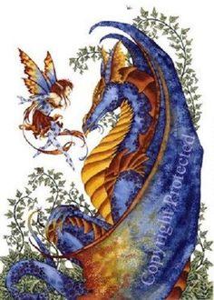"Amy Brown Print 8.5"" x 11"" Curiosity Dragon Fairy Faery glossy Fantasy Art Blue"