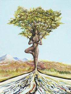 Landscape Painting Painting - Tree Pose by Piero Manrique Acrylic Painting Trees, Yoga Painting, River Painting, Art And Illustration, Illustrations, Yoga Kunst, Goddess Art, Yoga Art, Visionary Art