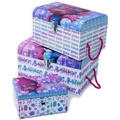 Trolls 3-Piece Set Nesting Storage Trunks and Jewelry Box, Multicolor