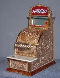 National Cash Register. Awwwesome piece for the cashier!!!! From another new board on Jobs and history and changes of environment. Fab Coca Cola register!!!! Awwwwwesome!!
