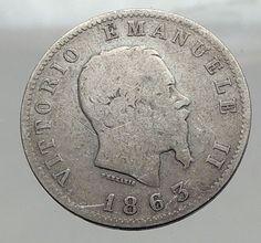 1863 ITALY King Victor Emmanuel II Silver 1 Lira ITALIAN Coin with Crown i63010