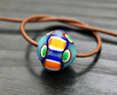 Artisan Lampwork Focal Bead In Blue and Orange by blancheandguy, $16.00