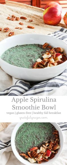 Apple Spirulina Smoothie Bowls are a healthy, plant-based breakfast for fall. Made with spirulina powder for a nutritional boost, and apples and pecans for satisfying fiber. Best Vegan Recipes, Good Healthy Recipes, Healthy Breakfast Recipes, Fall Recipes, Healthy Snacks, Vegetarian Recipes, Shake Recipes, Party Recipes, Eating Healthy