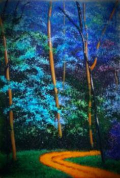 """Blue Forest"" Glass Frit Painting by Diane Quarles @ Aspen Light Glass Studio"